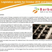 Health and safety legislation update for October 2016