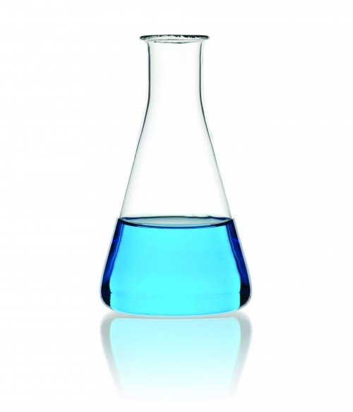 Scientific Conical Flask Filled with Chemicals Close Up Against a White Background