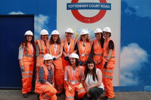 Health and safety visitors to Crossrail dressed in PPE