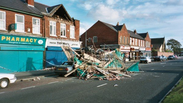 The consequence of a scaffolding collapse - three injured, one seriously. Photo credit: David Thomas