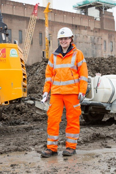 The new female PPE (Personal Protective Equipment) is seen at the Northern Line Extention site, Battersea, London.