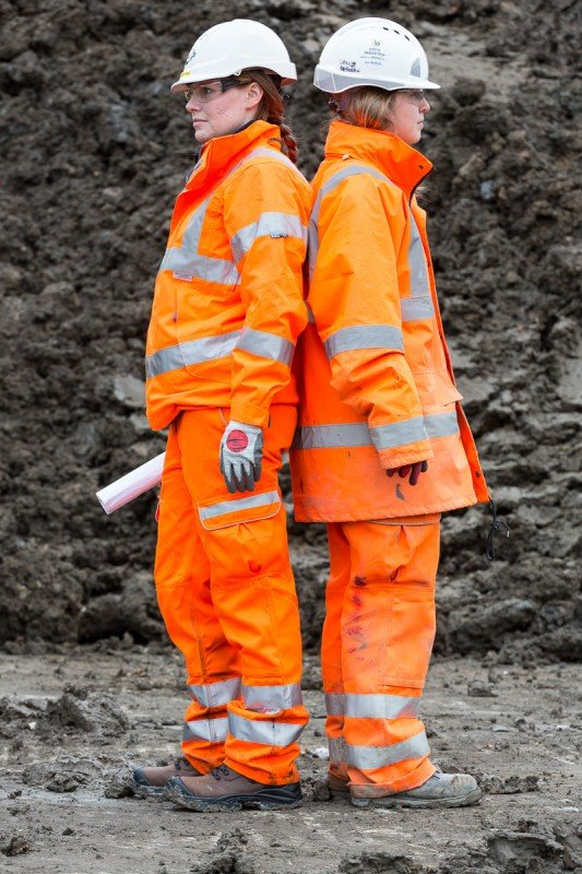 The new female PPE (Personal Protective Equipment) is can be seen (Left) modelled next to the current unisex issue equipment (Right).