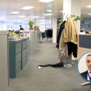 In this still from the introduction to an interactive office safety film there is a trip hazard created by the jacket on the floor. The trainee must click on it. Images courtesy of Mott MacDonald