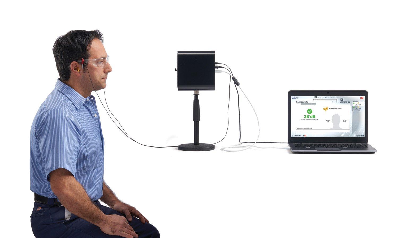 EARfit Dual-Ear Test Set-up_Subject_Speaker_Laptop
