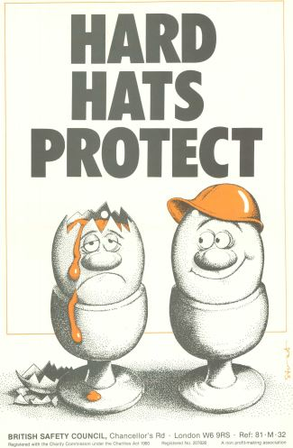 A historic poster supporting the campaign for compulsory hard hats in the construction industry