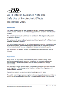 ABTT Safe Use of Pyrotechnic Effects Guidance