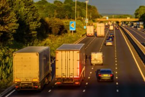 busy traffic on uk motorway road