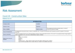 Covid construction risk assesment