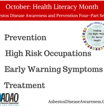 Health Literacy Month: ADAO launches four-part series on asbestos disease awareness and prevention